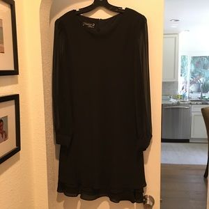 Classic sheer sleeve LBD little black dress